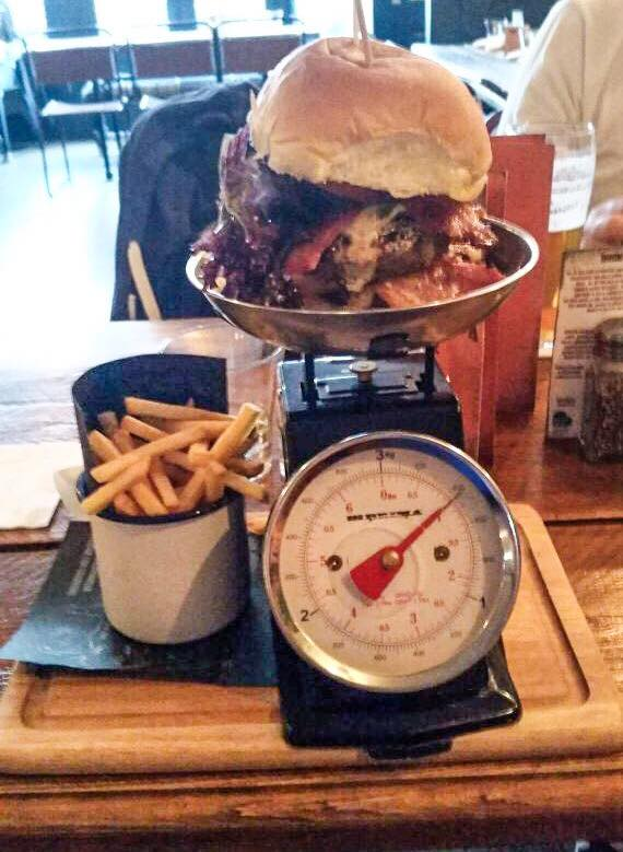 burger on weighing scales
