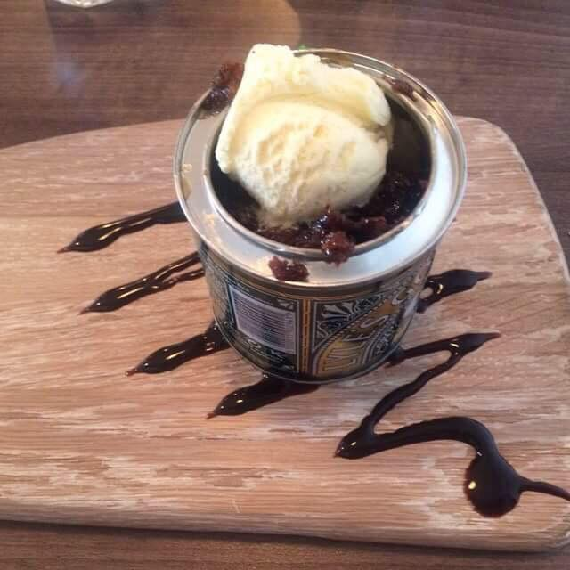 ice cream in a syrup tin