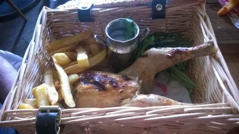 modern chicken in a basket