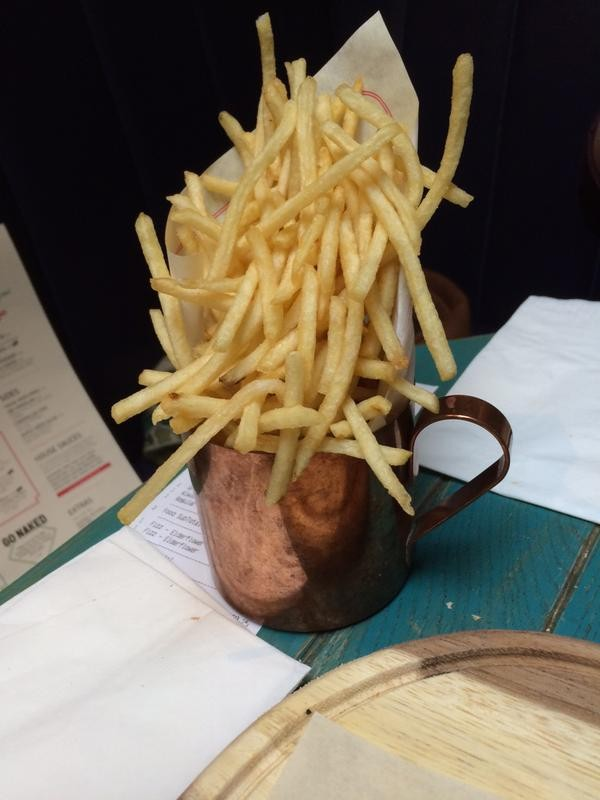 chips in metal mug